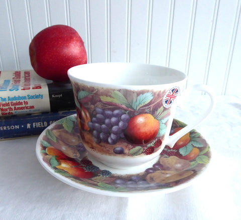 Classic Fruit Design Breakfast Size Cup And Saucer Roy Kirkham Bone China Apples Grapes