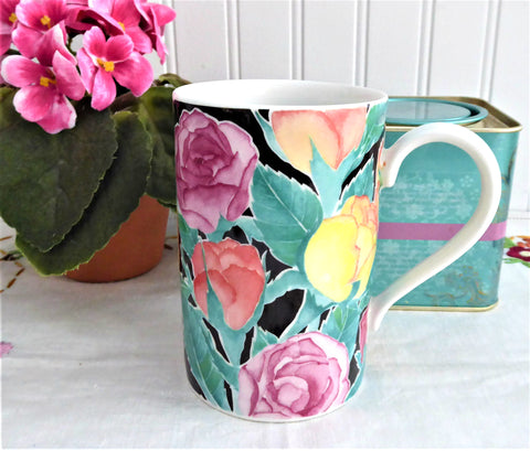 Dunoon Mug Ashbourne Floral Stoneware Christine Chadwick Multicolor Roses
