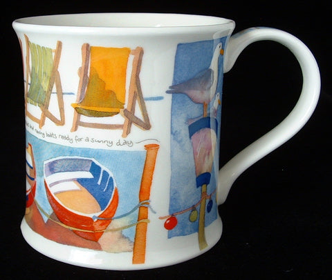 Dunoon Tea Mug By The Sea Boat Beach Chairs 2007 Artist Emma Ball