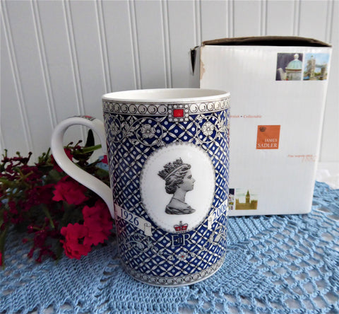 Sadler Mug Queen Elizabeth 80th Birthday 2006 Boxed Blue White Platinum
