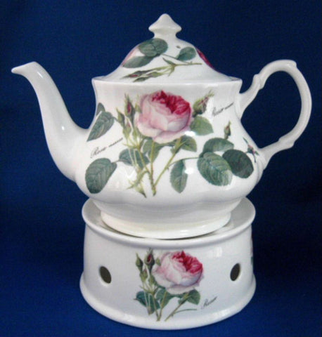 Teapot And Stand Roy Kirkham Redoute Roses Large 6 Cup English Bone China