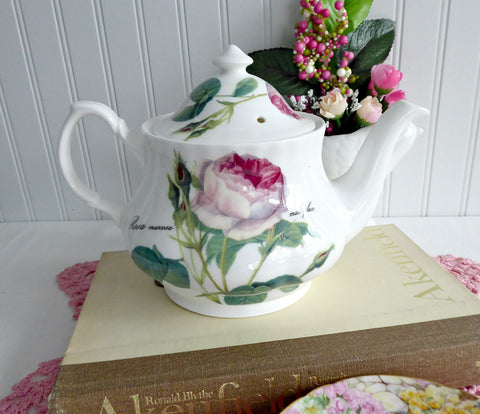 Pink Redoute Rose Teapot Roy Kirkham Botanical Names 6 Cups 40 Ounces