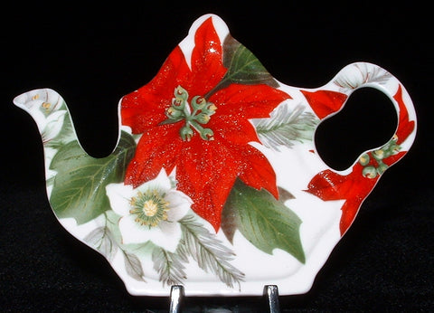 Poinsettia Tea Bag Caddy Royal Patrician Teapot Shape New Christmas Holiday