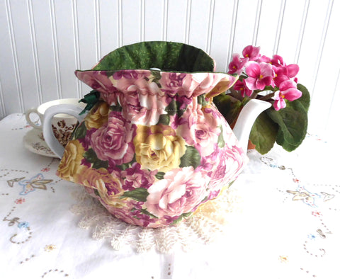 Tea Cozy Reversible Lush Roses Padded Pink Yellow Green Lining USA Artisan Made