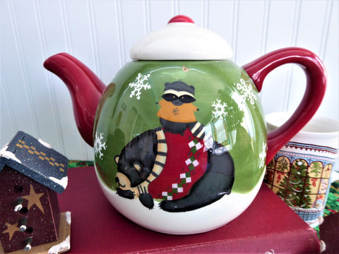Debbie Mumm Christmas Winter Folk Art Teapot Bear Racoon Large Holiday Winter