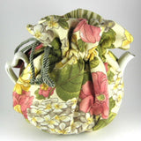 Padded Tea Cozy Reversible Peach Yellow Floral Striped Lining USA Handmade