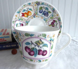 Prunus Fruit Design Breakfast Size Cup And Saucer Roy Kirkham Bone China Butterflies