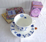 English Tea Breakfast Cup And Saucer Blue And White Roy Kirkham Teapots Chintz Bone China