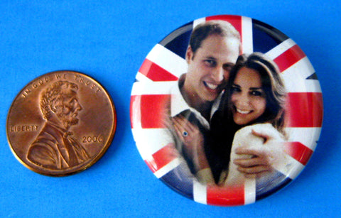 Prince William and Kate Royal Wedding Pin Back Button 2011 Souvenir Pin