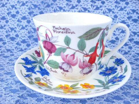 Botanical Breakfast Size Cup And Saucer Roy Kirkham Flowers And Names Bone China