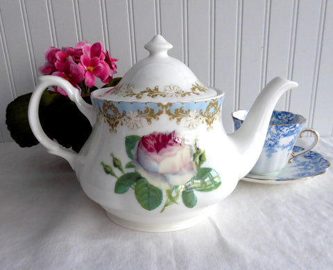 Vintage Rose Teapot Roy Kirkham England Bone China 6 Cups Pink Rose Blue Blush