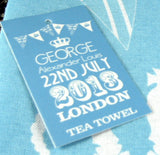 Tea Towel Birth Of Prince George To William Kate Blue And White NWT 2013