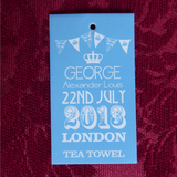 Tea Towel Birth Of Prince George To William Kate Blue And White 2013