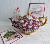 Sadler Teapot Holiday Chintz England Christmas 1995 Red Christmas Roses Holly