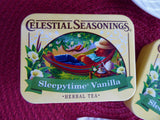 Pair Tea Tins Sleepytime Vanilla Travel Tins 2014 Bear Yellow Celestial Seasonings