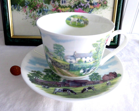 English Country Scenes Breakfast Size Cup And Saucer Roy Kirkham Bone China