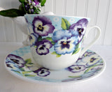Pansy Garden Breakfast Size Cup And Saucer Roy Kirkham Blue Purple Pansies Bone China