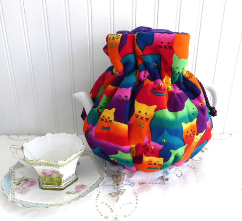 Colorful Cats Tea Cozy Padded Purple Cord And Purple lining USA Handmade