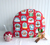 Christmas Snow Globes Tea Cozy Padded Tea Cosy Ulster Large Polka Dot Lining