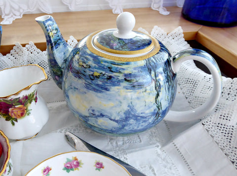 Monet Water Lilies Teapot Leonardo Blue 6 Cups New 40 Ounces Gift Box