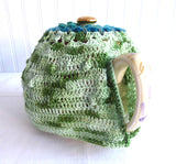 Crocheted Tea Cozy Teal Variegated Green Heather Hand Made Cosy Medium Stretchy US Artisan