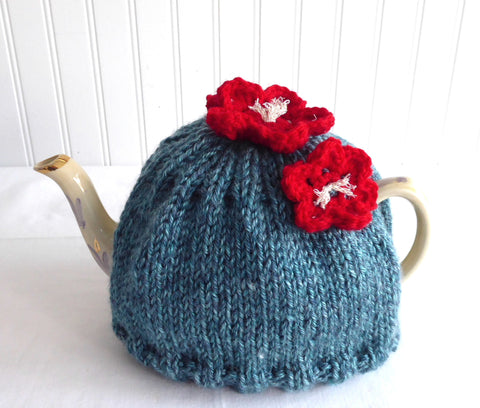 Applied Flowers Tea Cozy Teal Heather Hand Knitted Cosy Medium Stretchy US Artisan