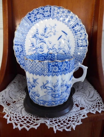 Antique Staffordshire Blue Transferware Aesthetic Cup And Saucer 1880s - Antiques And Teacups - 1