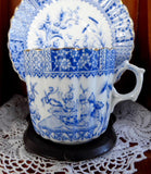 Antique Staffordshire Blue Transferware Aesthetic Cup And Saucer 1880s - Antiques And Teacups - 3