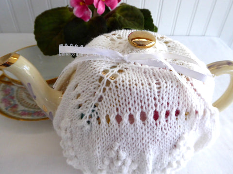 Fancy White Hand Knit Tea Cozy Popcorn Stitch Fan Cosy Knitted Medium Stretchy