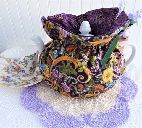 Tea Cozy Fancy Renaissance Floral Purple Gold USA Handmade Cosy