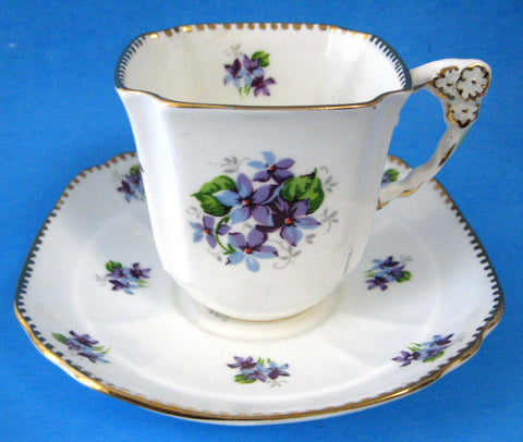 Sweet Violets Tea Cup and Saucer Flower Handle Royal Stafford 1940s Square Cup As Is - Antiques And Teacups - 1
