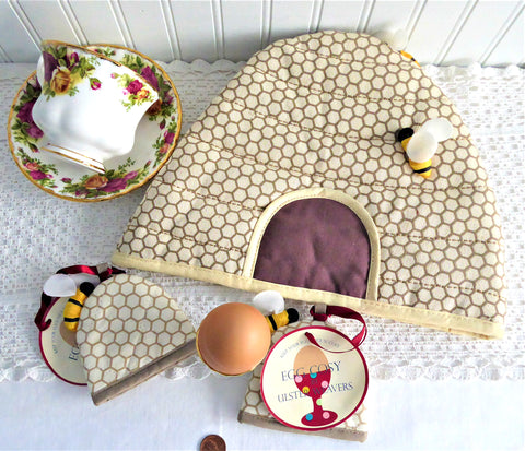 Beehive Skep Tea Cozy Cosy And Egg Cozies Padded 3D Bees Shaped Ulster Weavers