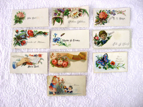 Victorian Calling Cards Visiting Cards Set Of 10 Flowers Chldren Antique Ephemera Teatime Decor