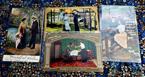 Romance Postcards Set Of 4 Real Photos Captions Gold Metallic Accents Edwardian Era