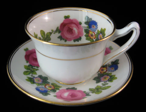 Gorgeous Cup And Saucer Paragon Pink Roses Floral Demi Queen Mary Warrant 1930s