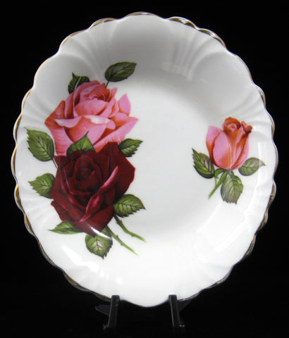 Bowl Candy Dish Pink Burgundy Roses Oval Dish Jam Candy 1950s Windsor England