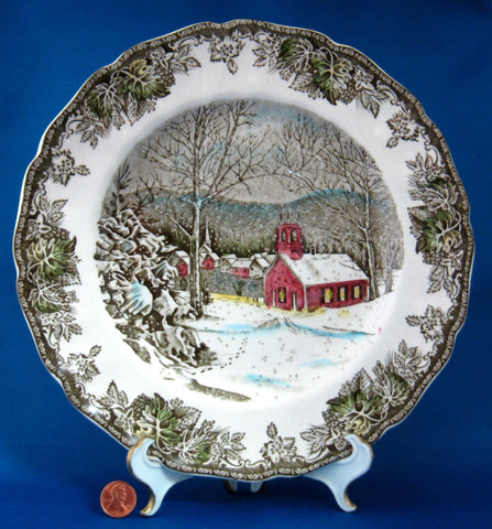 Johnson Brothers Friendly Village Dinner Plate School House English Made 1950-1960s & Johnson Brothers Friendly Village Dinner Plate School House English ...