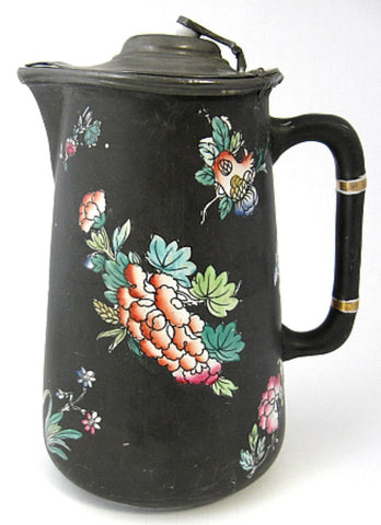 English Arts And Crafts Jug Pewter Lid English Mid Victorian Floral Pitcher 1880s - Antiques And Teacups - 1