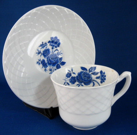 Cup And Saucer Blue Rose Wedgwood Ironstone 1950s Blue And White Tea Cup - Antiques And Teacups - 1