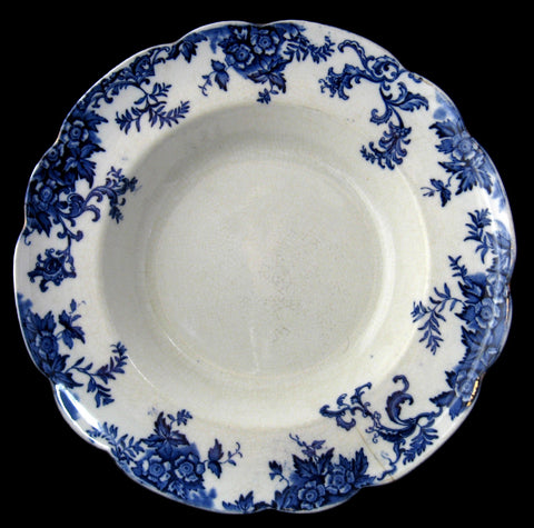 Bowl Royal Doulton Lynn Floral Blue Transferware As Is TLC 11 Inches 1890s