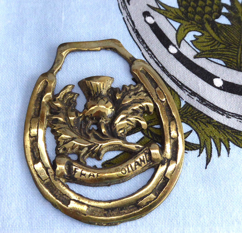Scottish Thistle Souvenir Vintage Horse Brass Ornament Harness Brass 1920s
