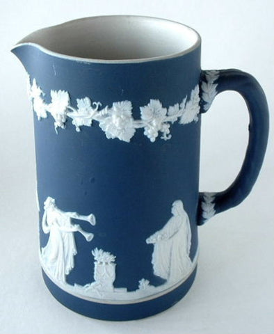Blue And White Pitcher Adams Jasperware Jug Victorian Antique 1890s - Antiques And Teacups - 1