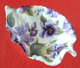 Leaf Shape Tea Bag Caddy Violet Chintz England Bone China Royal Patrician - Antiques And Teacups - 1