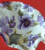 Leaf Shape Tea Bag Caddy Violet Chintz England Bone China Royal Patrician - Antiques And Teacups - 3