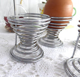 English Egg Cups Wire And Wood Set Of 4 Industrial Cool 1960s Retro Eggcups Egg Cups Mid Century Modern