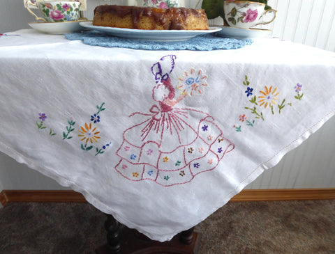 Crinoline Lady Tea Cloth Tablecloth England Embroidered Linen 30 Inch Bridge Tea Party 1940s