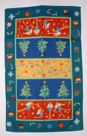 Tea Towel English 1980s Christmas Holiday Design Angels Trees Quirky - Antiques And Teacups - 1