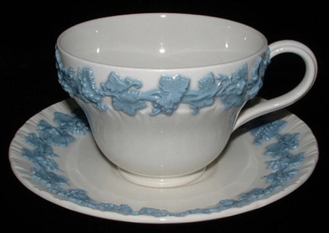 Cup And Saucer Wedgwood Queens Ware Blue On White Grapes