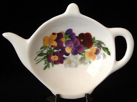Tea Bag Caddy Pansies Teapot Shape England Bone China Violas New Discontinued - Antiques And Teacups - 1