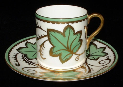 Shelley Cup And Saucer Mocha Coffee Can Ivy Heavy Gold 1940s Demi - Antiques And Teacups - 1